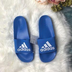 NWT Adidas Blue & White Logo Flip Flops Size 10